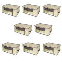 Kit 8 Caixa Organizadora Closet Roup Coberta 45x45x20cm - Universal Vendas