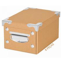 Kit 8 Caixa Organizadora com Alça OR52500 Monta Fácil Kraft P Porta Objetos E Acessórios Ordene - Ordene s/a