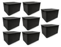 Kit 8 Caixas Organizadoras Rattan PRETA 40 Litros Arqplast -