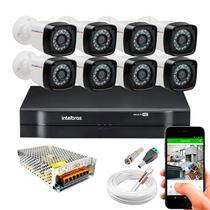 Kit 8 Câmeras de Segurança 20m Infravermelho Full Hd 1080p + Dvr Intelbras 1108 + Acessórios -