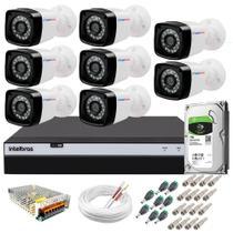 Kit 8 Câmeras de Segurança Full Hd 1080p 20mts infra Dvr 3108 8 canais Intelbras 1TB Skyhawk -