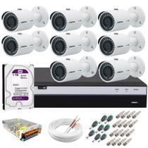 Kit 8 Câmeras de Segurança Ultra HD 2k 30 metros infra VHD 3430 B + DVR Intelbras 4K + HD WD Purple -