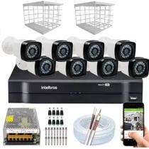 Kit 8 Câmeras + DVR Intelbras + Câmeras HD 720p 20m Infravermelho + Fonte, Cabos e Acessórios -