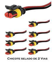 KIT 8 Chicote para Lanterna Automóvel Caminhão Ônibus com Conector Selado de 2 Vias - Silo