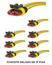 KIT 8 Chicote para Lanterna Automóvel Caminhão Ônibus com Conector Selado de 3 Vias - Silo