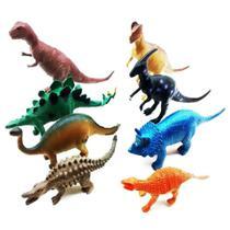 kit 8 Dinossauro De Borracha Miniatura Brinquedo Jurassic - Toy King