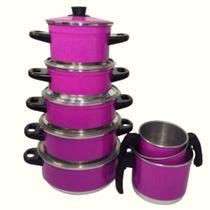 Kit 8 Peças - Panela Sophia de Alumínio Na cor Pink com Saída a Vapor + 3 Canecos - Lu Quintães