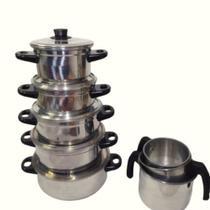 Kit 8 Peças - Panela Sophia de Alumínio Polido com Saída a Vapor + 3 Canecos - Lu Quintães