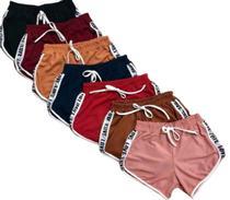 Kit 8 Shorts Bermudas Casual Veludo Love Shortinho Feminino Moda -