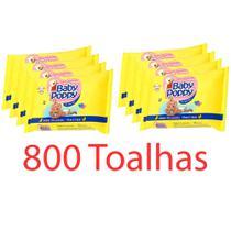 kit 8x100 toalhas lenços umedecidos baby poppy super premium mais encorpada (total 800 toalhas) - Ákua