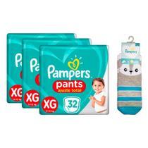 Kit 96 Fraldas Pampers Pants Ajuste Total Mega Tamanho XG + Meia Pampers Puket Gato -