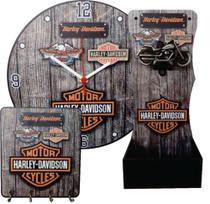 Kit Abridor De Garrafa, Relógio E Porta Chaves Harley - Rgr Visual