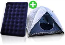 Kit Acampamento: Barraca De Camping 4 Pessoas Com Sobreteto + Colchão Inflável Casal - MOR