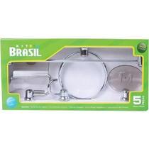 Kit Acessório Para wc Brasil Cromado   5 Peças -