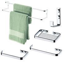 Kit Acessórios Banheiro 5 Peças Suportes de Parede - Cromado -