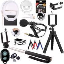 Kit Acessórios Celular Smartphone Mini Tripé Microfone de Lapela Anel Luz Insta Influencer - Cjr