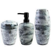 Kit Acessórios Para Banheiro De Plástico Design Marmorizado Branco Carrara - Ou