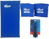 Kit Acessorios para ginastica treino em casa corda de pular + peso perna 2kg + colchonete academia - Deveras