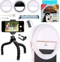 Kit Acessórios Youtuber Mini Tripé Flexível Suporte Celular Iluminação Luz Led Anel Clip Ring Light Universal Smartphone - Leffa Shop