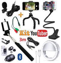 Kit Acessórios Youtuber Profissional Tripé Microfone Lapela Celular Iphone Android Suporte Mesa Ring Light Bastão Selfie - Leffa Shop