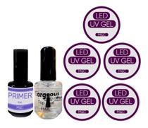 Kit Acrigel Manicure 5 Gel Uv 1 Top Coat 1 Primer - M&C