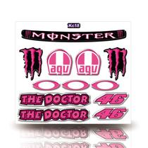 Kit Adesivo Decorativo Capacete Resinado 3D,Monster,  Agv, Monster, The Doctor, Carro Moto GP - Cobra Motoparts