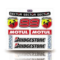 Kit Adesivo Decorativo Capacete Resinado 3D, Sector,99, Abarth MOtul,Bridgestone, Movistar, Carro Moto GP - Cobra Motoparts