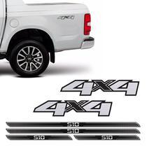 Kit Adesivos 4x4 S10 2013/2019 Escovado + Soleira Protetora - SPORTINOX