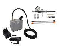 Kit Aerografia Mini Compressor + Aerógrafo C/ 3 bicos e Acessórios e Mini Filtro Onetools -