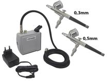 Kit Aerografia Mini Compressor C/ 2 Aerógrafos Copo Fixo 0,3 / 0,5mm Onetools -