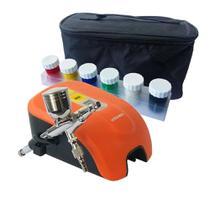 Kit Aerógrafo com Compressor 12W + Tintas Completo A405 Bivolt VERSA - Black  Jack