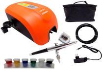 Kit Aerógrafo com Compressor 12W Tintas Completo A405 Versa -
