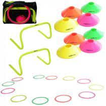 Kit Agilidade Gold 18 Pecas com 8 Mini Cones + 2 Barreiras de Salto + 8 Argolas  Proaction -