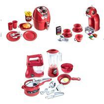 Kit Air Fryer + Litlle Cozinha + Cafeteira Chef Kids Brinquedo - Zucatoys