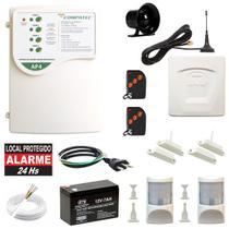 Kit Alarme GSM Chip Celular Com Fio Sensores Faz Ligação E Envia SMS Compatec3 -