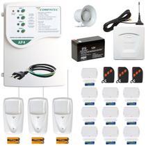 Kit Alarme GSM Residencial Comercial Discadora Chip Celular 13 Sensores S/ Fio Alcance 100m Compatec -