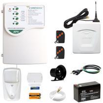 Kit Alarme Residencial Gsm Presença Porta Janela 100m S/ Fio - Compatec