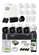 Kit Alarme Residencial S/ Fio E Kit Cftv 4 Câmeras Intelbras -