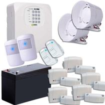 Kit Alarme Sem Fio 5 Sensores Sirenes Controles E Bateria - Ipec