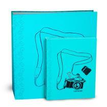 Kit Álbum Autocolante Photolovers Câmera Azul Ical -