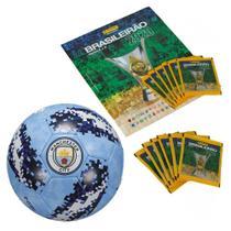 Kit Álbum - Campeonato Brasileiro Com 12 Envelopes e Bola De Futebol - Manchester City - Panini