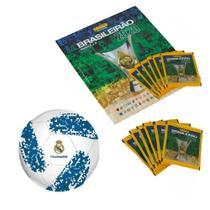 Kit Álbum - Campeonato Brasileiro Com 12 Envelopes e Mini Bola De Futebol - Real Madrid - Panini