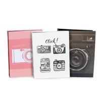 Kit álbuns de fotos com folhas pretas 160 fotos 10x15 - Ical