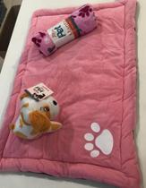 Kit Alegria Pet Feminino - 03 peças -  tapete para dormir, manta microfibra e 01 bichinho - Meu Pet