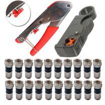 Kit Alicate Crimpar Compressão + Decapador + 20 Conector Rg6 - Bmax