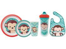Kit Alimentação Infantil 3 Peças + Babador com - Bolso + Copo Infantil 320ml Buba Animal Fun Macaco