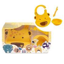 kit alimentação infantil em silicone colher + babador + tigela girafa - Marcus & Marcus -