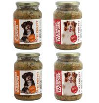 Kit Alimento 100% Natural Úmido Sem Conservantes Cães 4 un Pote Pró Pet 535g Galinhada e Carne Ração - Pote Pro Pet