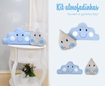 Kit Almofada Decorativa Infantil Nuvem e Gota Menino - Bruna Baby