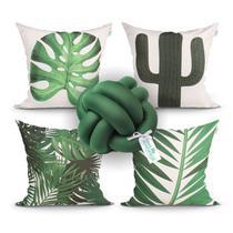 Kit Almofada Decorativa Verde 4 Unidades 45cm x 45cm com Refil de Silicone + Almofada Nó Escandinavo - Moda Casa Enxovais